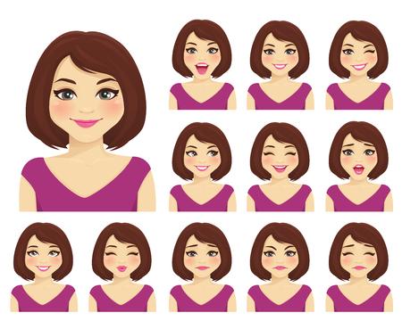 La donna con diverse espressioni facciali ha impostato isolato Vettoriali