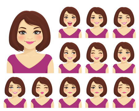 Woman with different facial expressions set isolated 矢量图像