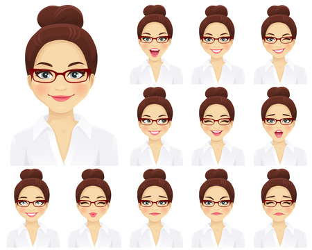 Business woman with different facial expressions set isolated Stockfoto - 103103205