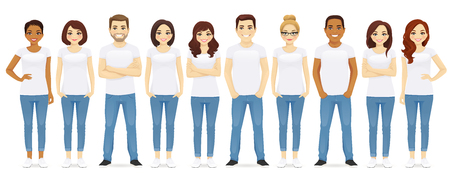 Group of young people standing in white t-shirts isolated Illustration