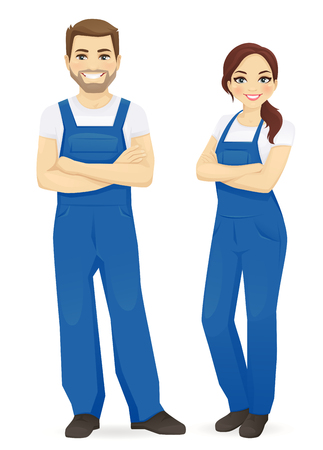 Man and woman in blue overalls isolated vector illustration Vector Illustratie
