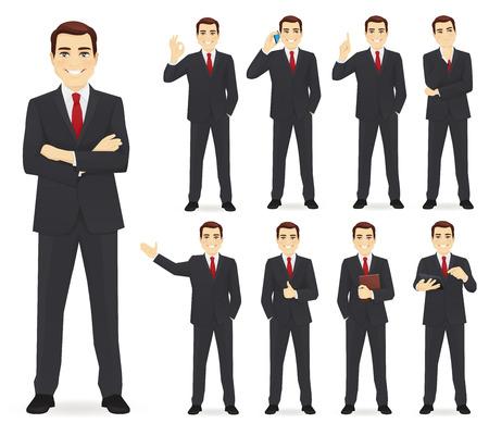 L'uomo d'affari ha impostato diversi gesti isolati illustrazione vettoriale Vettoriali