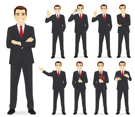 Business man set different gestures isolated vector illustration