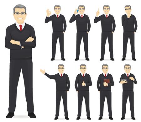 Hombre de negocios establece diferentes gestos aislados ilustración vectorial