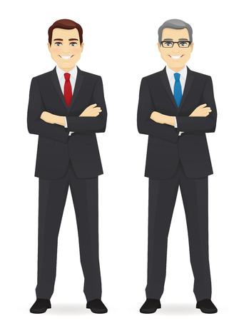 Business man young and mature isolated vector illustration Vektoros illusztráció