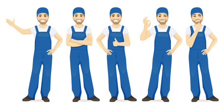Man in blue overalls set with different gestures isolated