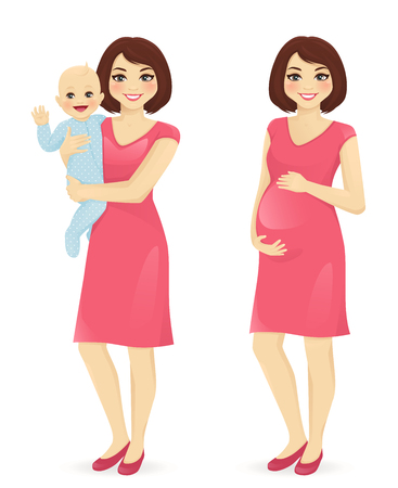 Young mother holding her newborn baby. Pregnant woman vector illustration isolated Vectores