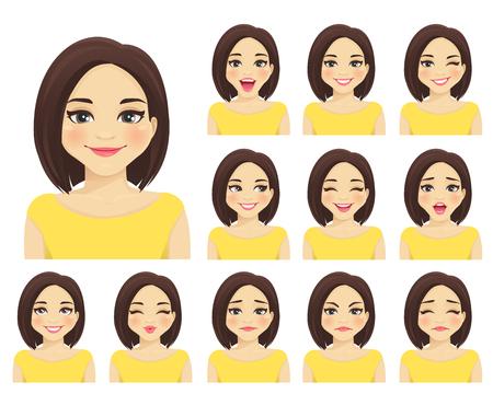 Kobieta z różnymi wyrazami twarzy zestaw na białym tle