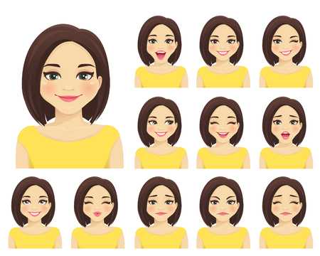 Woman with different facial expressions set isolated Ilustração