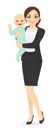 Woman in business clothes holding newborn baby vector illustration