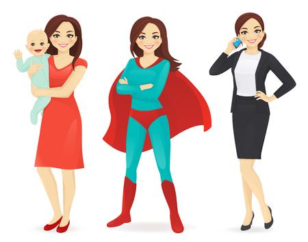 Mutter mit Baby, Geschäftsfrau und Frau in Superheldenkostüm-Vektorillustration