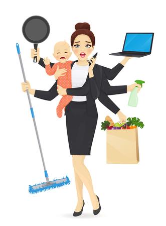 Madre con neonato in abiti da lavoro che pulisce, fa shopping, parla al telefono, cucina e lavora illustrazione vettoriale Vettoriali