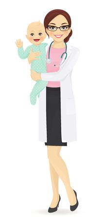Happy doctor pediatrician holding cheerful baby vector illustration Vetores