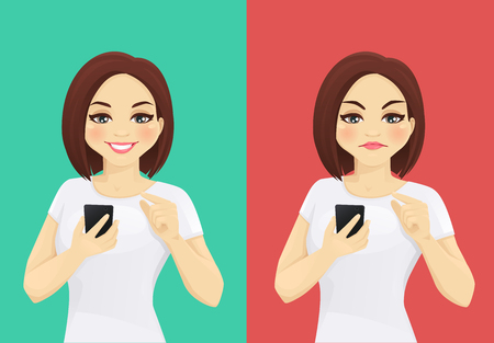 Online review. Woman holding smartphone and touching the screen with like and dislike emotions vector illustration