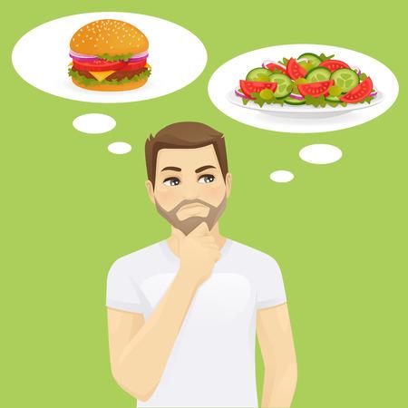 Man thinking choosing between salad and hamburger, healthy and junk food. Diet vector illustration