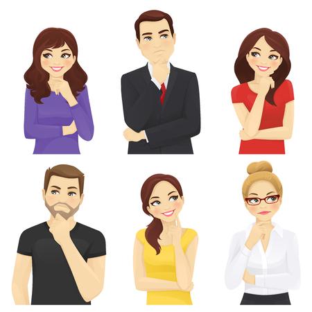 Gente pensativa, hombres y mujeres, conjunto de ilustración vectorial