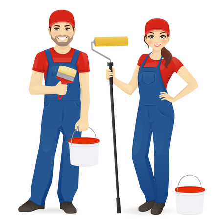 Set of male and female painters wearing blue overall with roller, brush and paint isolated vector illustration Imagens