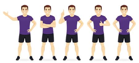 Sport fitness man in sportswear set isolated vector illustration Imagens
