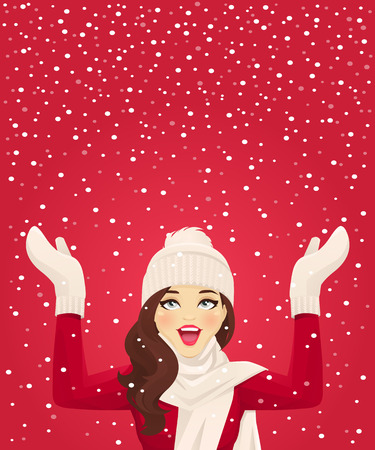 Happy woman having fun in snowfall on red background vector illustration