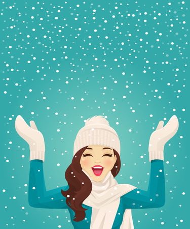 Happy woman having fun in snowfall on blue background vector illustration 일러스트