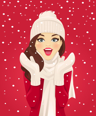 Surprised woman having fun in snowfall on red background vector illustration