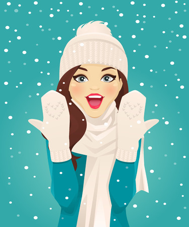 Surprised woman showing her mittens in snowfall on blue background vector illustration