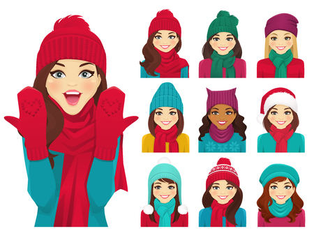 Women in autumn and winter knitted hats with warm scarfs vector illustration isolated 일러스트