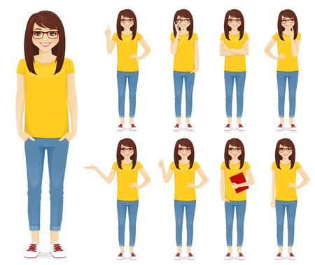 Teenage girl in glasses set with different gestures vector illustration isolated Ilustrace
