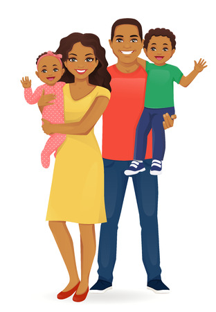 Parents with newborn baby girl and toddler boy vector illustration isolated. Happy family portrait. Mother and father with daughter and son