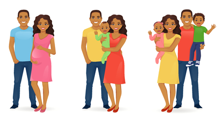 Set of family stages of development. Husband with pregnant wife. Parents with newborn baby. Mother and father with daughter and son. Vector illustration. Ilustração