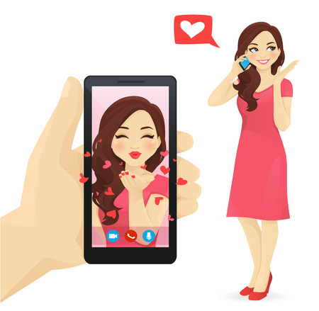 Pretty women talking on the mobile phone. Hand holding smartphone withonline female making air kiss video chat vector illustration