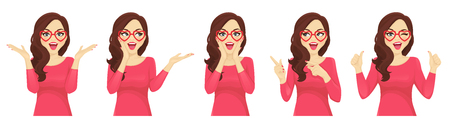 Surprised beautiful girl in hearts glasses vector illustration isolated