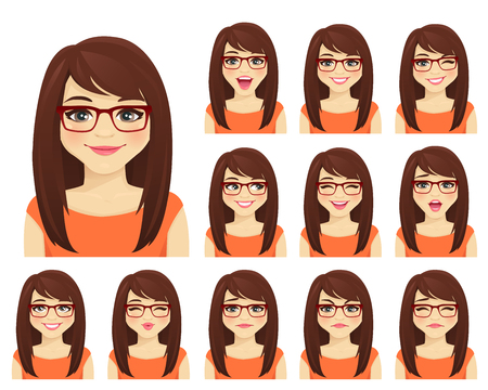 Girl in glasses with different facial expressions set isolated Ilustrace