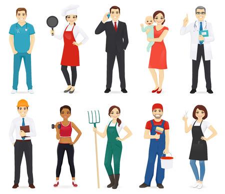 La raccolta di diverse professioni di persone ha isolato l'illustrazione vettoriale Vettoriali