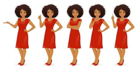 Woman character in dress set with different gestures isolated 일러스트