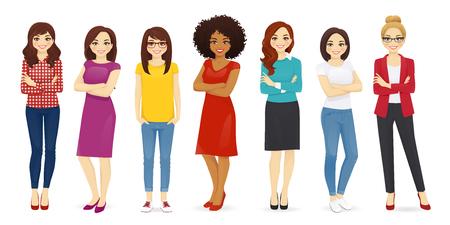 Kolekcja ślicznych kobiet ubranych w różne ubrania. Kobiece postacie zestaw ilustracji wektorowych