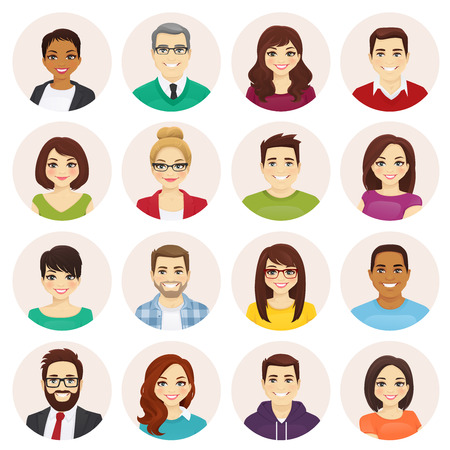 Smiling people avatar set isolated vector illustration Illustration