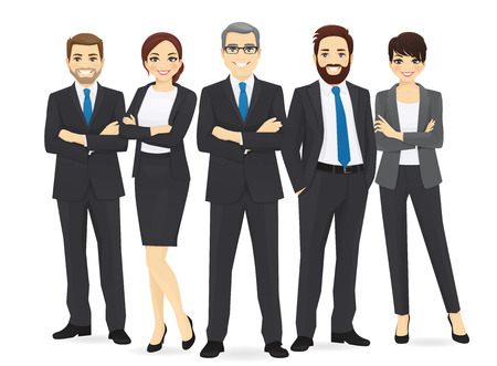 Business team set with leader isolated vector illustration 일러스트