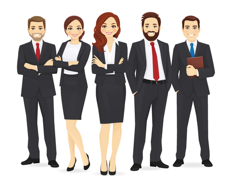 Business team set with leader isolated vector illustration Ilustrace