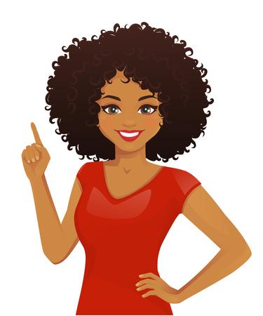 Femme souriante pointant vers le haut avec illustration vectorielle de coiffure afro isolé