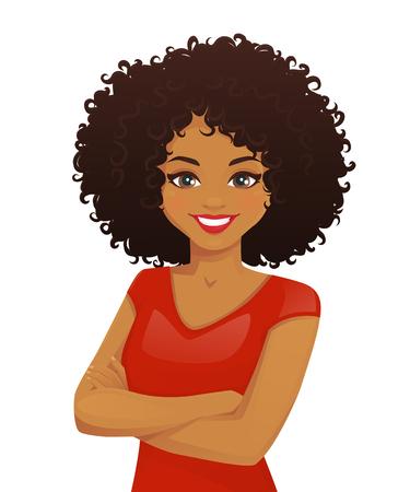 Portrait de femme souriante avec les bras croisés et coiffure afro isolé illustration vectorielle