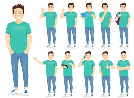 Man in casual outfit set with different gestures isolated Ilustrace