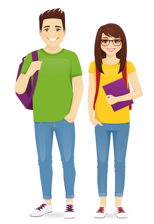 Young people in casual clothes with backbackpacks. Smiling man and girl isolated vector illustration Ilustrace