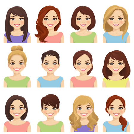 Satz süße Mädchen mit verschiedenen Frisuren und Farbvektorillustration lokalisiert illustration Vektorgrafik