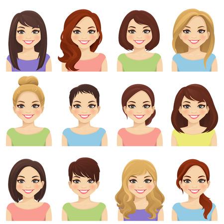 Set di ragazze carine con diverse acconciature e illustrazione vettoriale a colori isolata Vettoriali