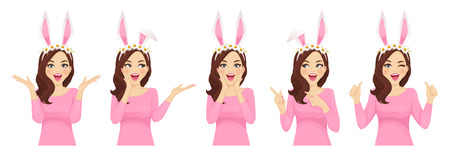 Surprised easter woman in bunny headband collection isolated vector illustration Ilustração
