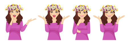 Surprised easter woman with wreath of flowers collection isolated vector illustration
