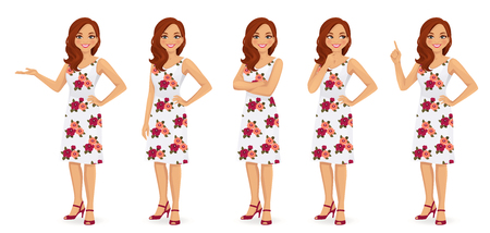 Woman character in dress set with flower print isolated
