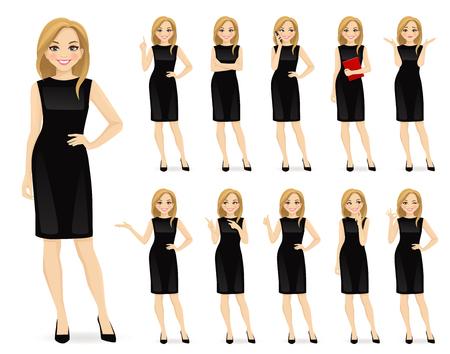 Mujer hermosa joven en personaje de vestido negro en diferentes poses establece ilustración vectorial