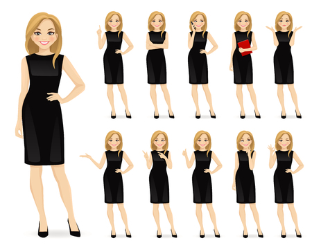 Young beautiful woman in black dress character in different poses set vector illustration Vectores